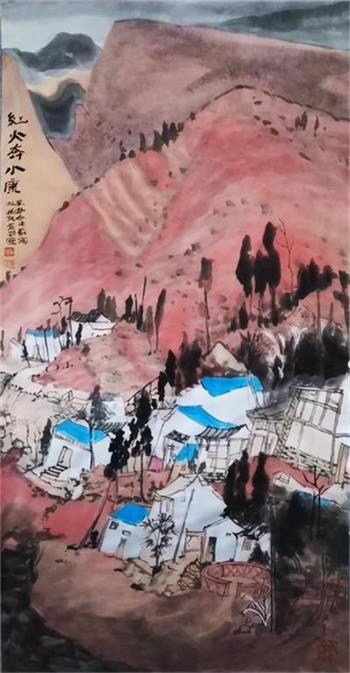 著名书画家甫苏作品《红火奔小康》被北京周口店遗址博物馆收藏